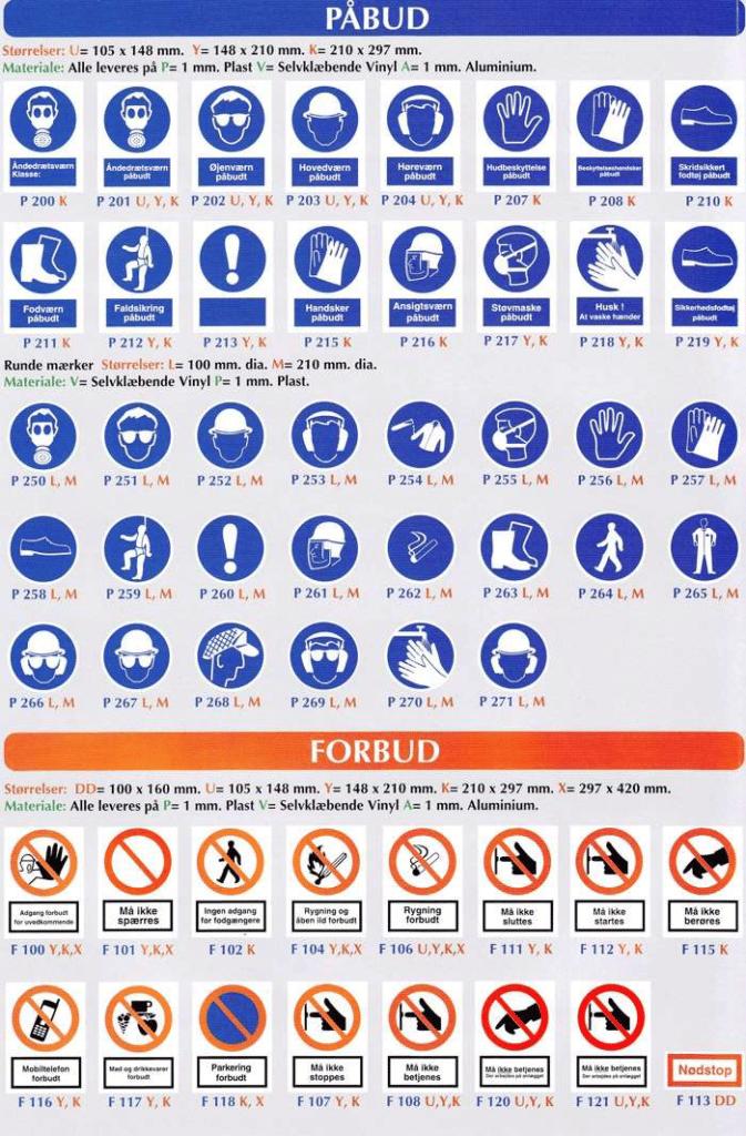 Sikkerhedsskilte - påbud & forbud