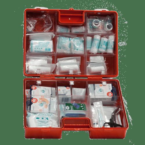 Åben førstehjælpskasse orange mellem