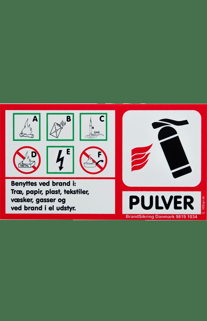 Brandskilt til pulverslukker